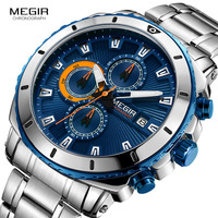 MEGIR 2018 New Quartz Luminous Man Watch Fashion Sport Stainless Steel Watches 3ATM Waterproof Wristwatch Chronograph Calendar