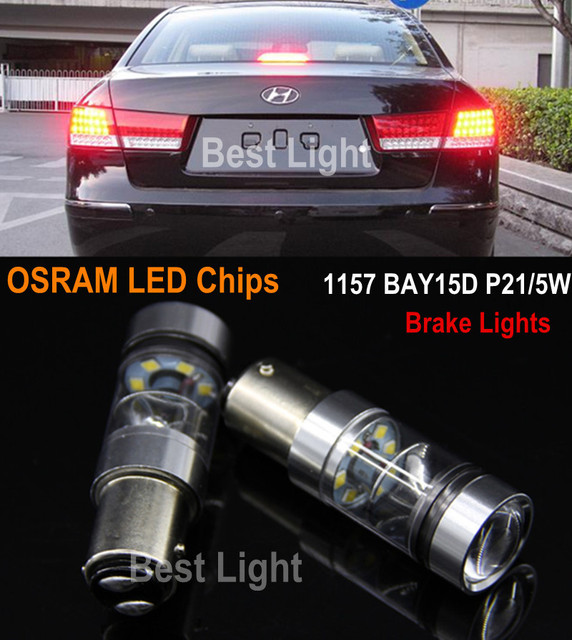 2x1157 BAY15d P21/5 W LED STOP/CAUDA lâmpadas Luzes de Freio Para Hyundai Tucson IX35 I30 Sotaque Elantra Sonata Santa Veracrus Rohens