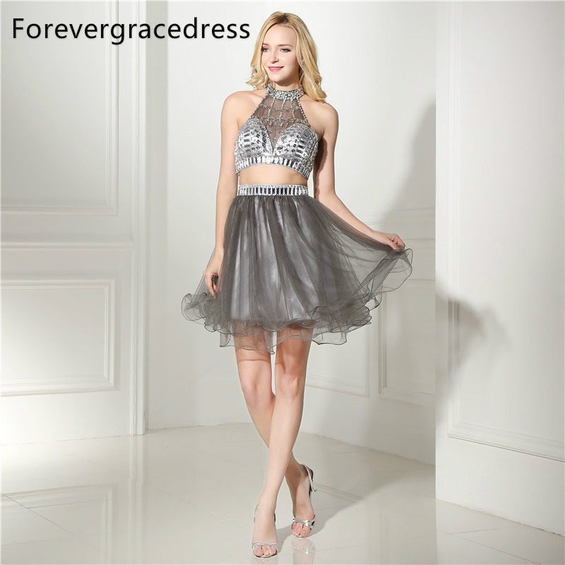 Forevergracedress Real Photos Silver Grey Cocktail Dress Sexy High Neck Short Tulle Beaded Homecoming Party Gown Plus Size