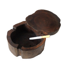 10cm Wooden Cigarette Ashtray with 360 Spinning Lid 3 Cigarettes Smoking  Cinder Table Decoration Smoking Ash Tray Case cinder