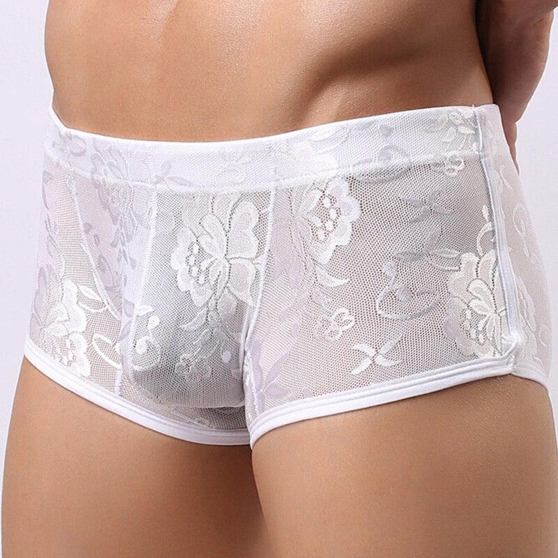 Men Sexy Lace mid waist panties underwear transparet breathable boxer underwear printing hombre shorts 2Colors M-XL