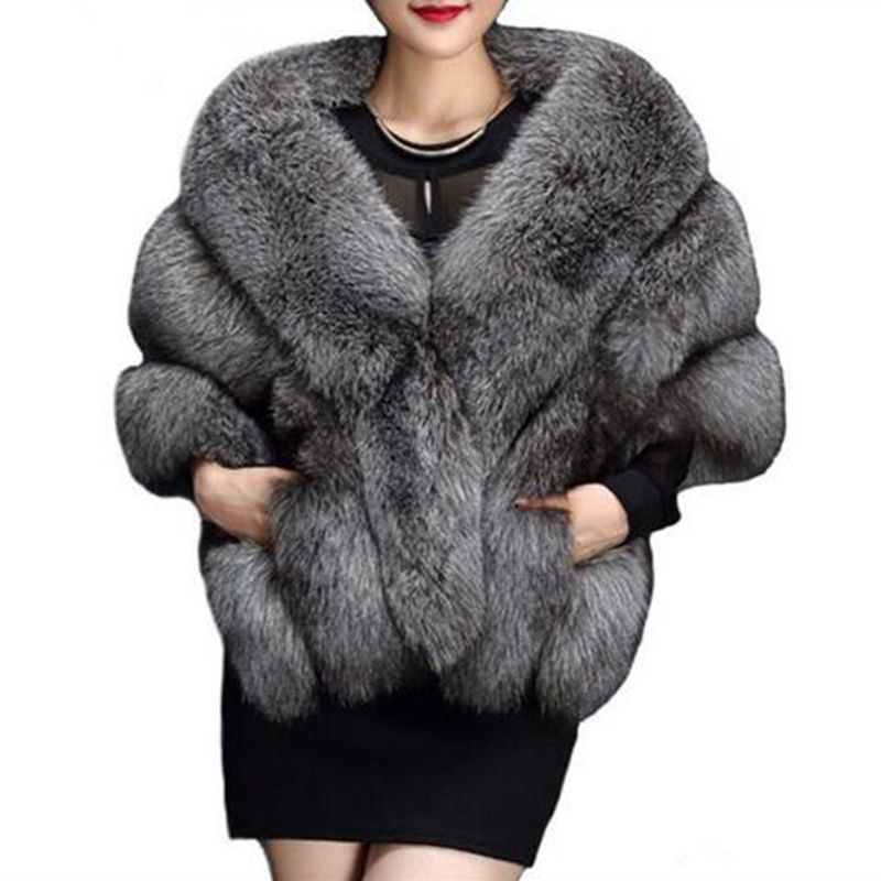 Brieuc Latest Winter Faux Fur Coats luxury fox fur imitation mink fur poncho bridal wedding dress shawl cape women vest fur coat