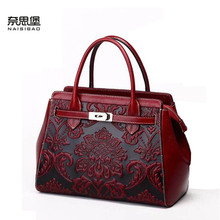 2016 New women genuine leather bag fashion chinese style quality  women leather handbags shoulder embossing cowhide bag