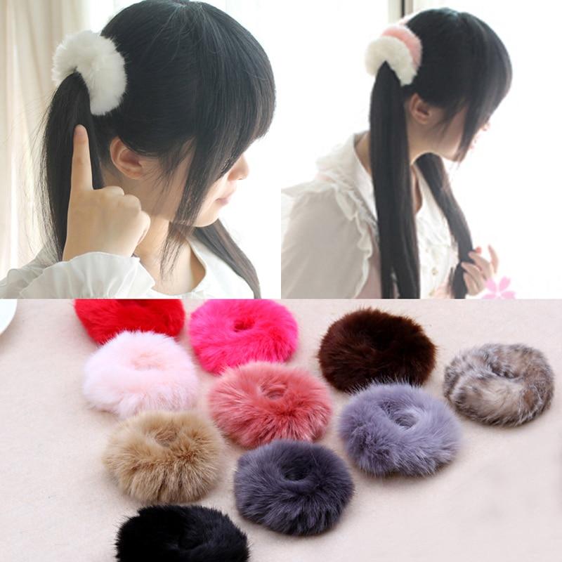 цены  NEW 2017 Korean Cute Trendy Warm Soft Fake Rabbit Fur Woman Elastic Hair Rope Bands Girls Hair Accessories Rubber Band Headwear
