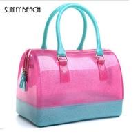 SŁONECZNY BRZEG marki hurtowej wysokiej jakości przezroczyste galaretki torby 26 cm duże poduszki pakiet wodoszczelne kobiety torebki Torby Na Ramię