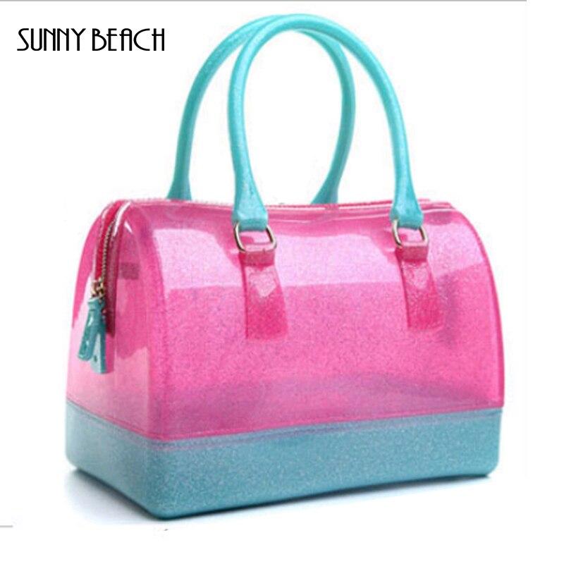 SUNNY BEACH marque de gros de haute qualité de gelée transparente sacs 26 cm grand oreiller paquet waterpoof femmes sac à main Sacs à Bandoulière