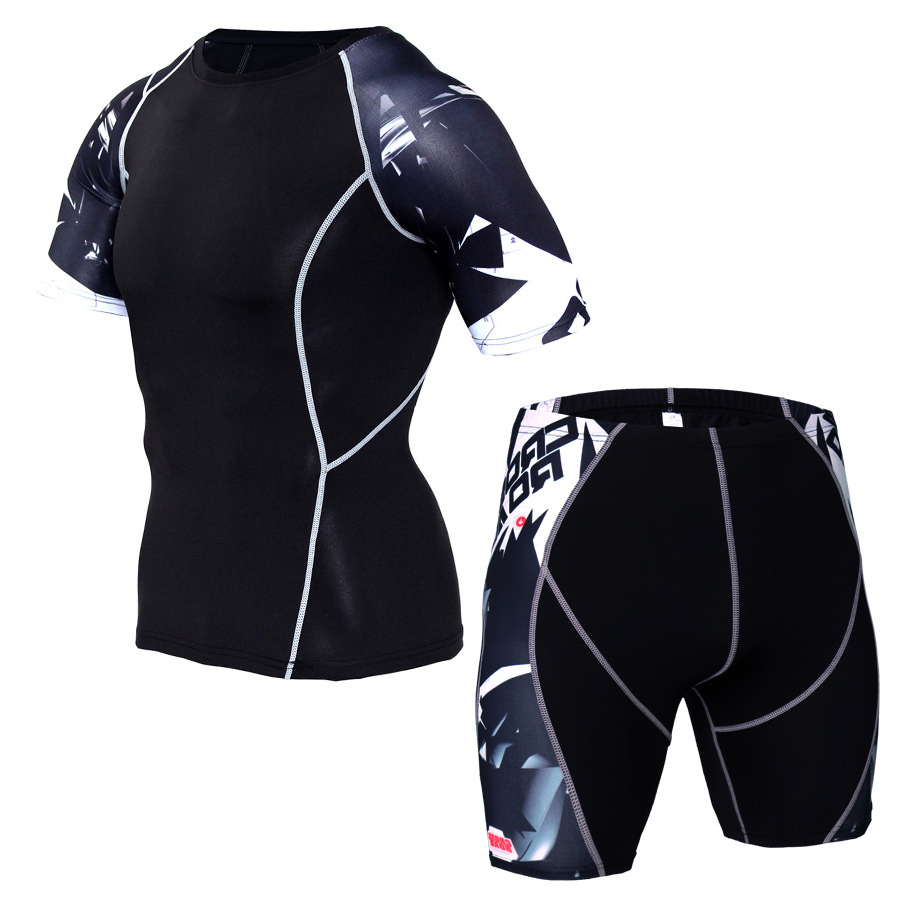 Summer Men Sportswear Sweatsuit Elastic Compression Tights Short Sleeve Swearshirt Running Jogger Fitness Outfit Gym Clothing in Running Sets from Sports Entertainment