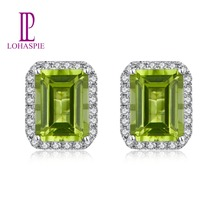 Lohaspie Classic Stud Earrings 14K White Real Gold  Natural GemStone Green Peridot  Diamond Fine Jewelry For Women's Best Gift