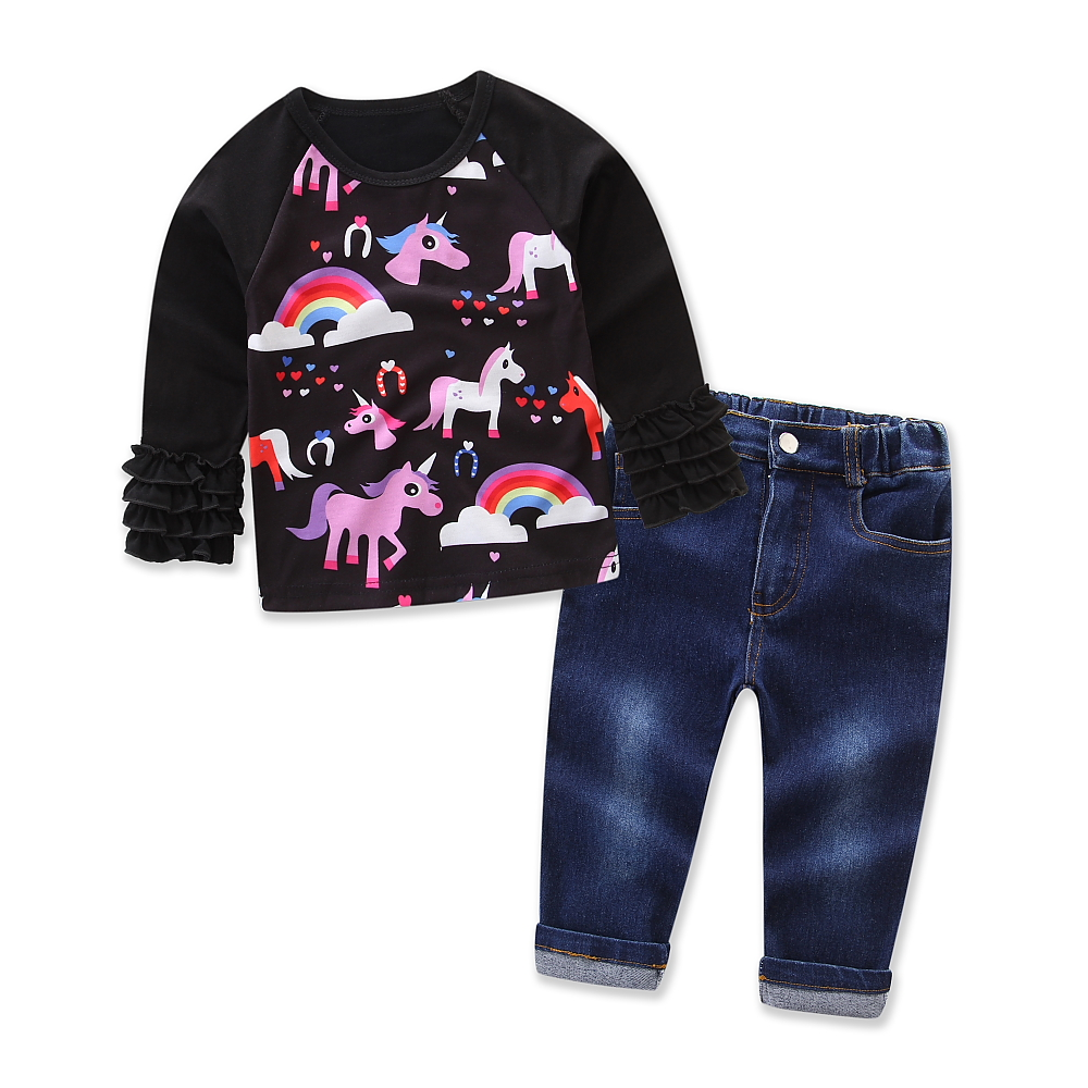 Baby Girls clothing Cartoon My Pony Black Cotton T-shirt+ jeans 2pcs Autumn Kids Clothes Suit long pants Cowboy Pants Size 2-7T 2pcs children outfit clothes kids baby girl off shoulder cotton ruffled sleeve tops striped t shirt blue denim jeans sunsuit set