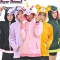 Kigurumi Otoño Invierno Cálido Plus Size Azul Rosa Púrpura Sudaderas Con Capucha Con Orejas de Animales Unicornio Cosplay Parejas Camisa Capa de La Chaqueta
