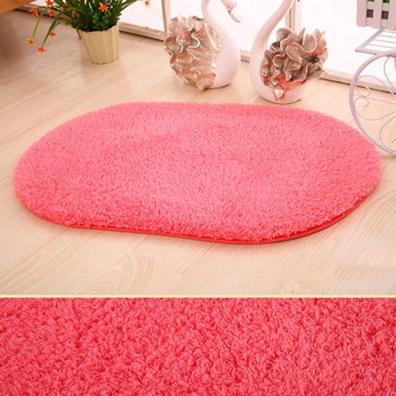 Купить с кэшбэком 40*60cm Super Soft Carpet Toilet Kitchen Parlor Bathroom Indoor Rug Mat Floor Mats Home Decor Decoration Solid Oval