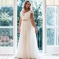 Кружева Cap Рукавом 2017 Плюс Размер Свадебное Платье Мода V-образным Вырезом Шифон длиной до пола Свадебное Платье Из Бисера Sash Назад Молния платье