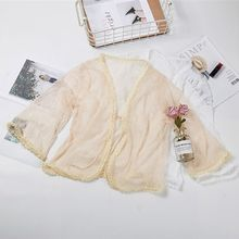 Summer New Loose Cape Coat Lace Outer Seven-point Sleeves Solid Color Openwork Cardigan Shawl