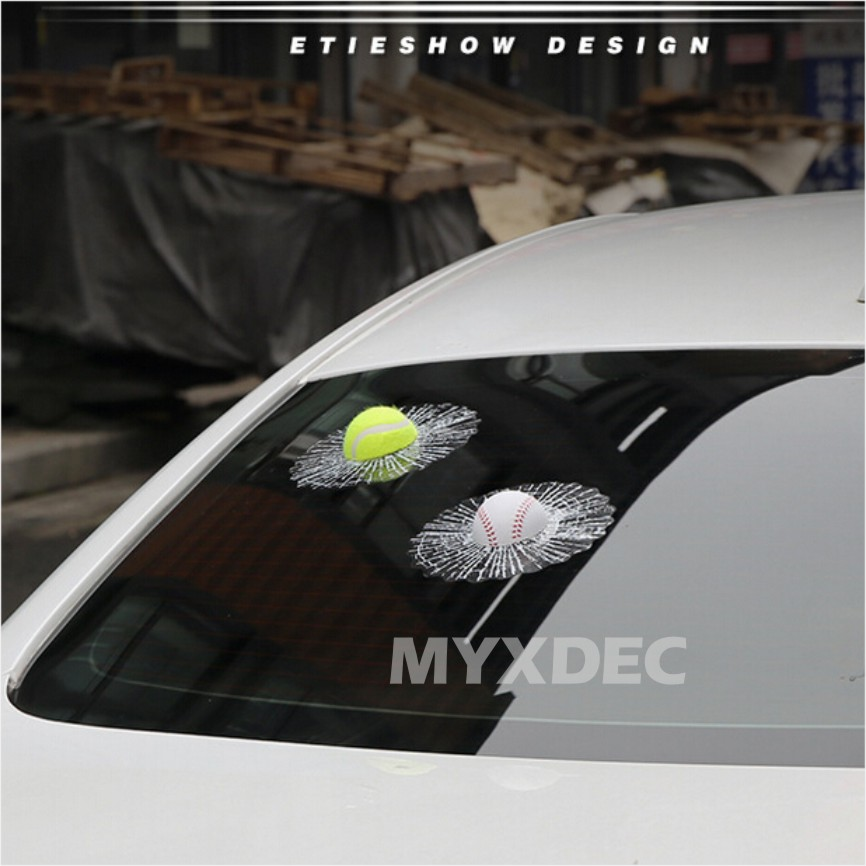 Image 3 - 2018 Funny Car Stickers and Decals 3D Football Baseball Sticker Self Adhesive PVC EVA Auto Truck Window Film Wrap Car Styling-in Car Stickers from Automobiles & Motorcycles