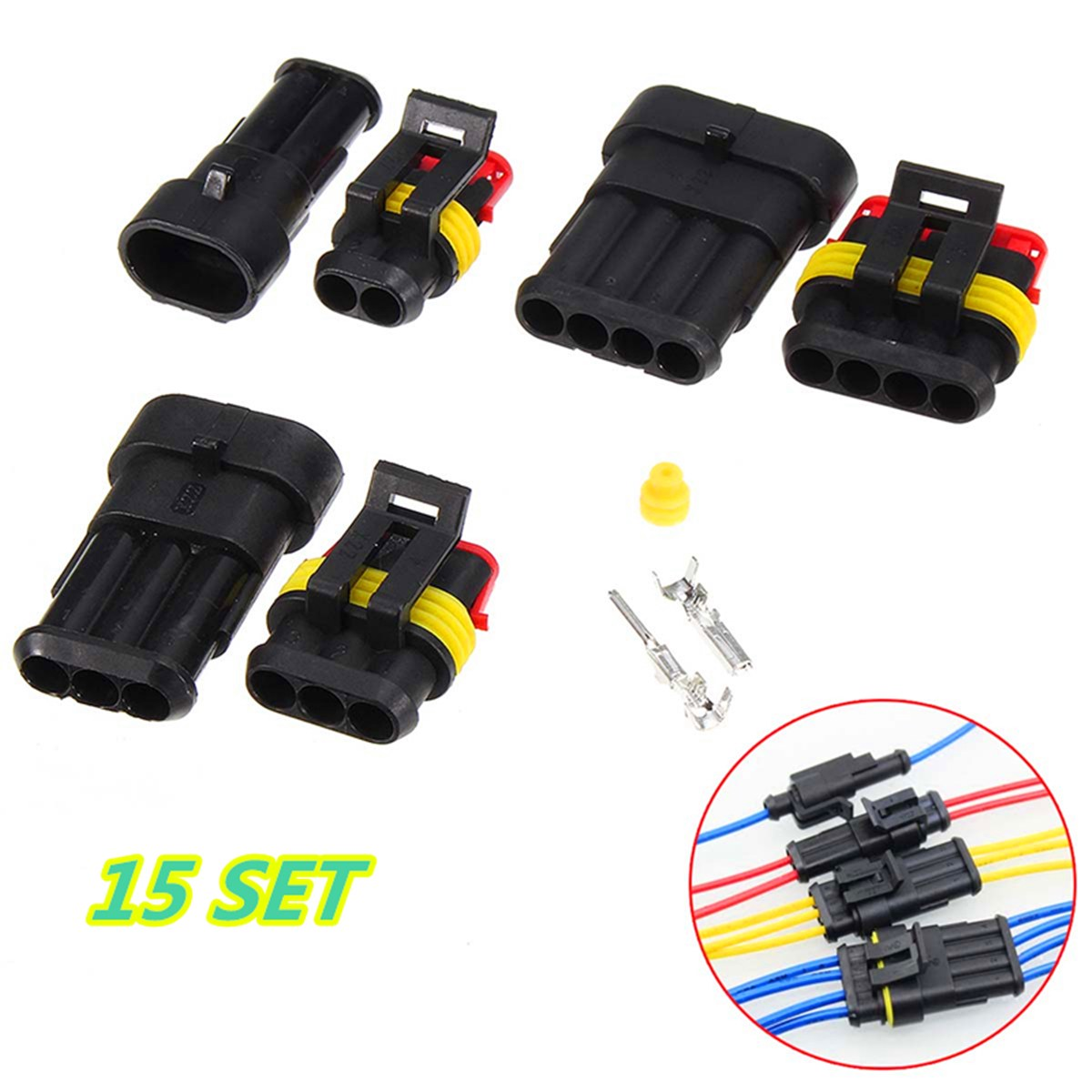 15 Sets of 2//3//4 Pins Way Car Sealed Waterproof Electrical Wire Connector Plug