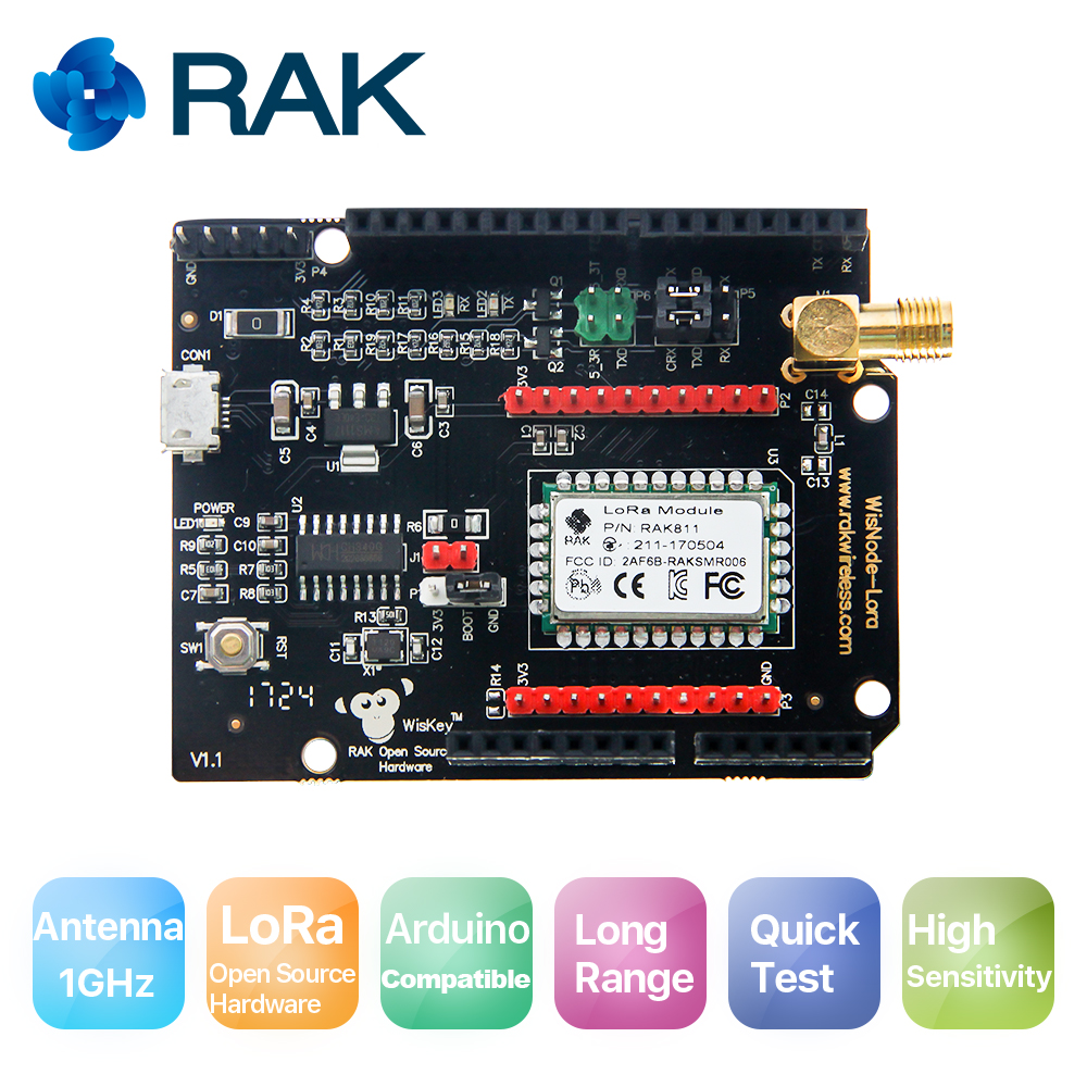WisNode Lora/LoRaWAN Module,Support AS923, 868/915MHz, LoRa/TTN, Open source LoRa, RAK811 development board, LoRa Arduino shield
