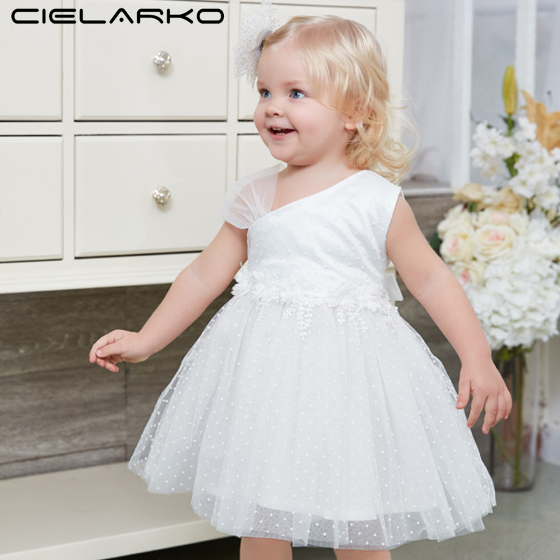 Cielarko Formal Girls Dress White Toddler Party Dresses Tulle Baby Clothes Fashion Kids Ball Gown for Girl Summer Children Frock