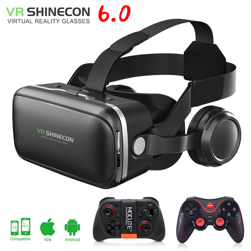 VR shinecon 6.0 3D Glasses box google cardboard virtual reality goggles VR headset for 4.5-6.0 inch ios Android smartphone vr glasses 3d glasses vr headset box virtual joystick for phone virtual reality glasses for iphone google cardboard galaxy s9