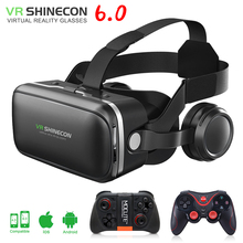 Original VR shinecon 6.0 Glasses 3D vr box google cardboard virtual reality goggles VR headset for ios Android smartphone 100% original vr shinecon 6 0 virtual reality goggles 120 fov 3d glasses google cardboard with headset stereo box for smartphone