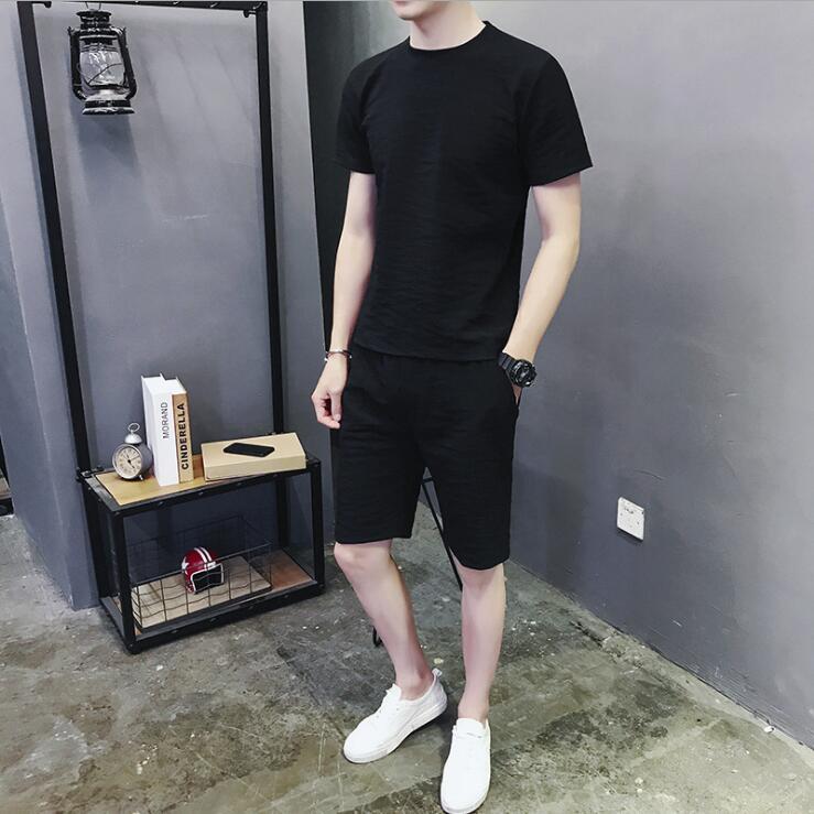 2018 Summer Newest 2 pieces Set Quick-drying Short Sleeve O-neck Cotton Sport Set for Men Size L-5XL 4 color Factory Dropship