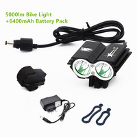 Cycling Bicycle Bike Light 5000 Lumen 2x CREE XM L U2 LED Flashlights Lamps For Bike