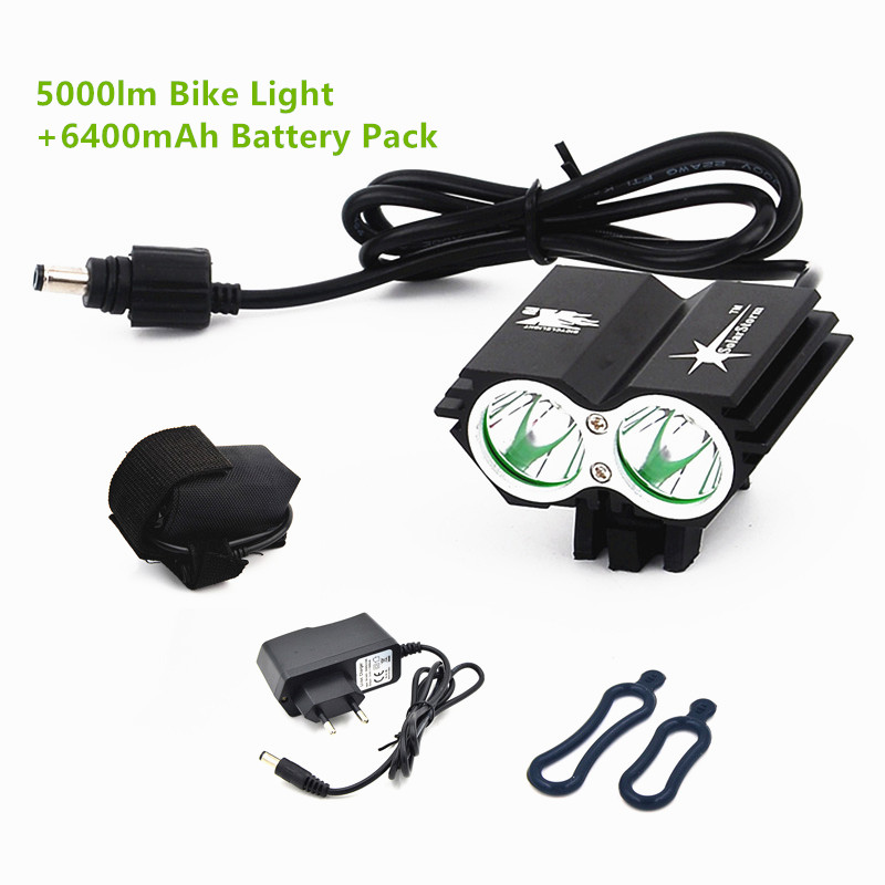 Cycling bicycle bike light 5000 Lumen 2x XM-L U2 LED flashlights lamps For Bike + 8.4V battery Pack + EU/US/UK/AU Charger waterproof 5000 lumen 2x xml u2 led cycling bicycle bike light lamp headlight headlamp 6400mah battery pack charger