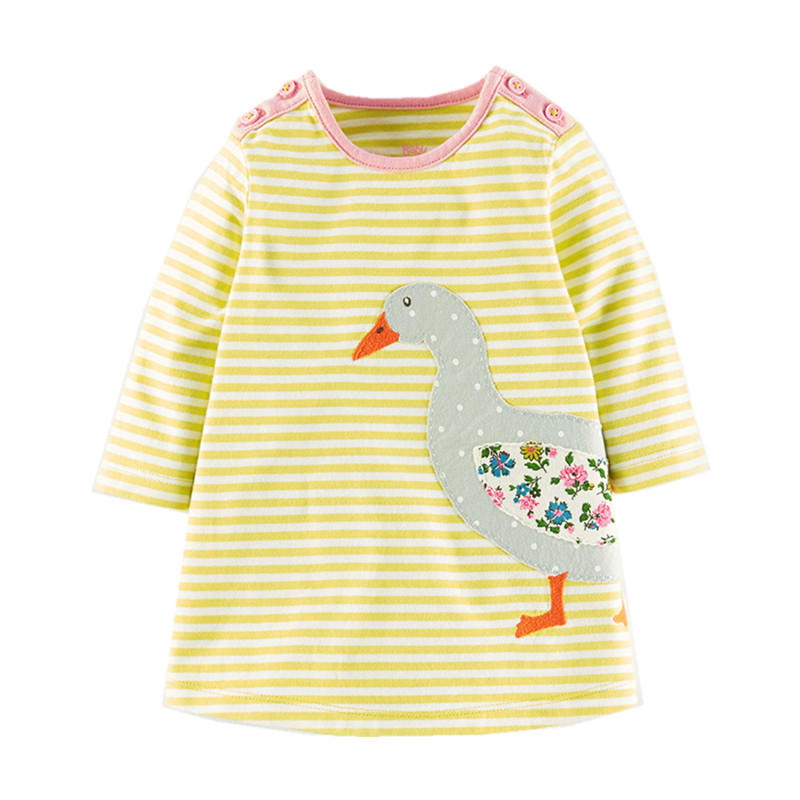Little Maven Brand New Girls Autumn Spring Long-sleeved O-neck Fashion Yellow Striped Lovely Duck Cotton Cute Casual Dresses little maven brand new girls autumn spring long sleeved o neck fashion rabbits printed cotton cute casual dresses
