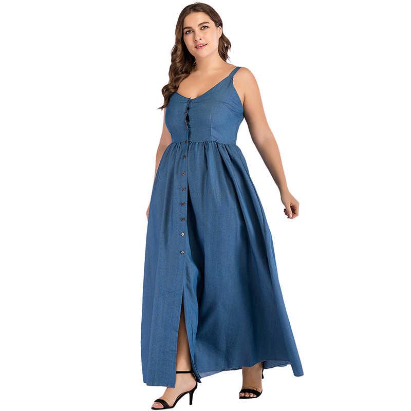 Осеннее Сексуальное Женское Макси джинсовое платье большого размера сарафан спагетти кнопка для ремешка однотонные женские Сплит джинсы длинное платье плюс размер синий