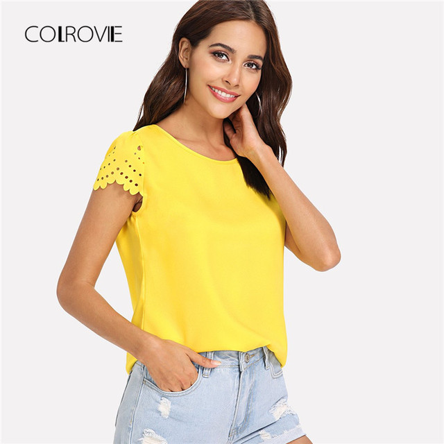 COLROVIE Yellow Scallop Laser Cut Cap Sleeve Hollow Out Button Casual Women  Blouse Shirt 2018 Summer 1a8288cce275