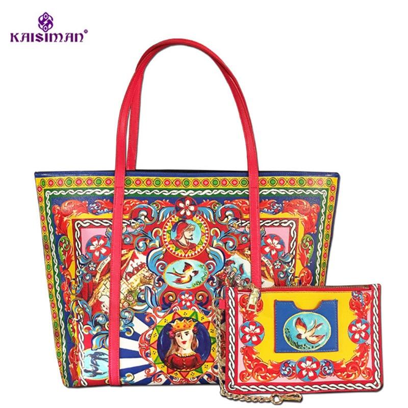Famous Designer Handbags Flower Print Female Leather Casual Shopping Tote Bag Handbag Lady Shoulder Messenger Bag