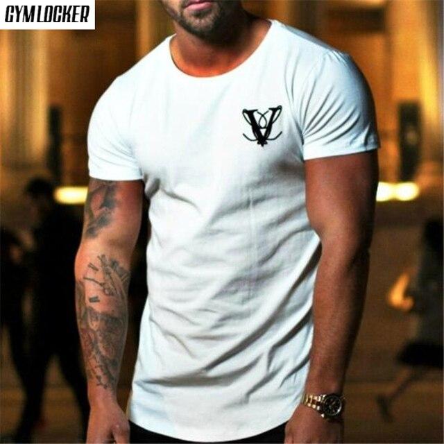 Nova marca de verão dos homens t shirt da forma impressa O-pescoço Fino t-shirt de manga curta fresco mens academias de fitness t musculação topos
