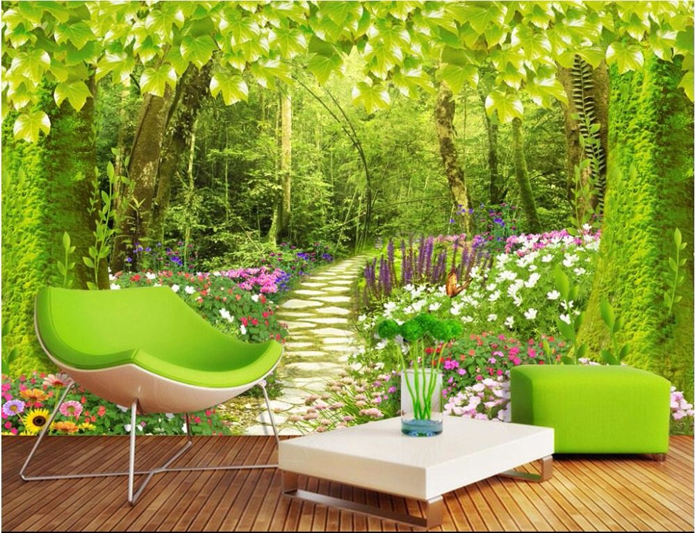 Custom mural photo 3d wallpaper forest road flowers and for Custom mural painting