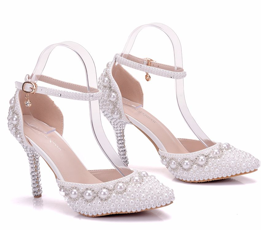 bc15bdb9cff5 Crystal Queen Women Summer White Pearl Diamond Wedding Shoes High ...