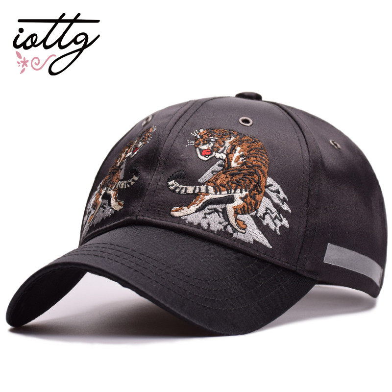 IOTTG 2018 New Sport Hats Cotton Baseball Cap Tiger Embroidery Women's Cap Men Black Snapback Hat Bone Summer Animal Hip Hop Cap new high quality warm winter baseball cap men brand snapback black solid bone baseball mens winter hats ear flaps free sipping