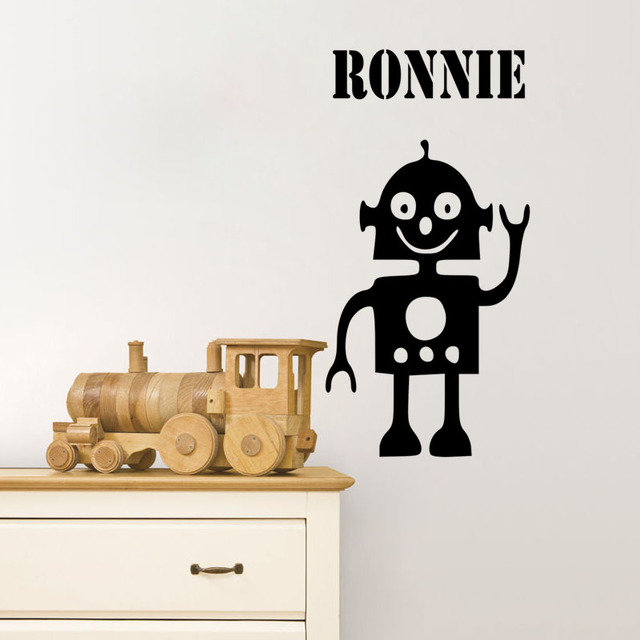 DCTOP Any Name Decal Say Hello Robot Customized Wall Sticker Funny ...