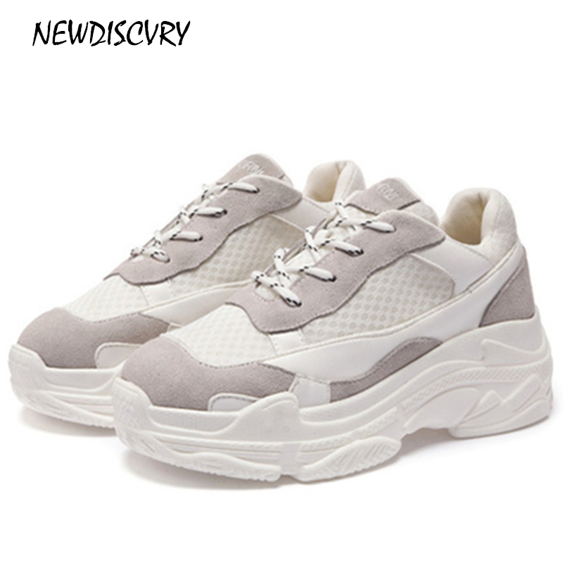 NEWDISCVRY Women s Platform Lace Up Chunky Sneakers 2018 Fashion Flat Women Leather Mesh Walking Shoes