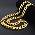 "Gold Finish 15mm 30"" Iced Out Hip Hop Cz Chain Necklace Mens Miami Cuban Bling Bling High Quality Chain"