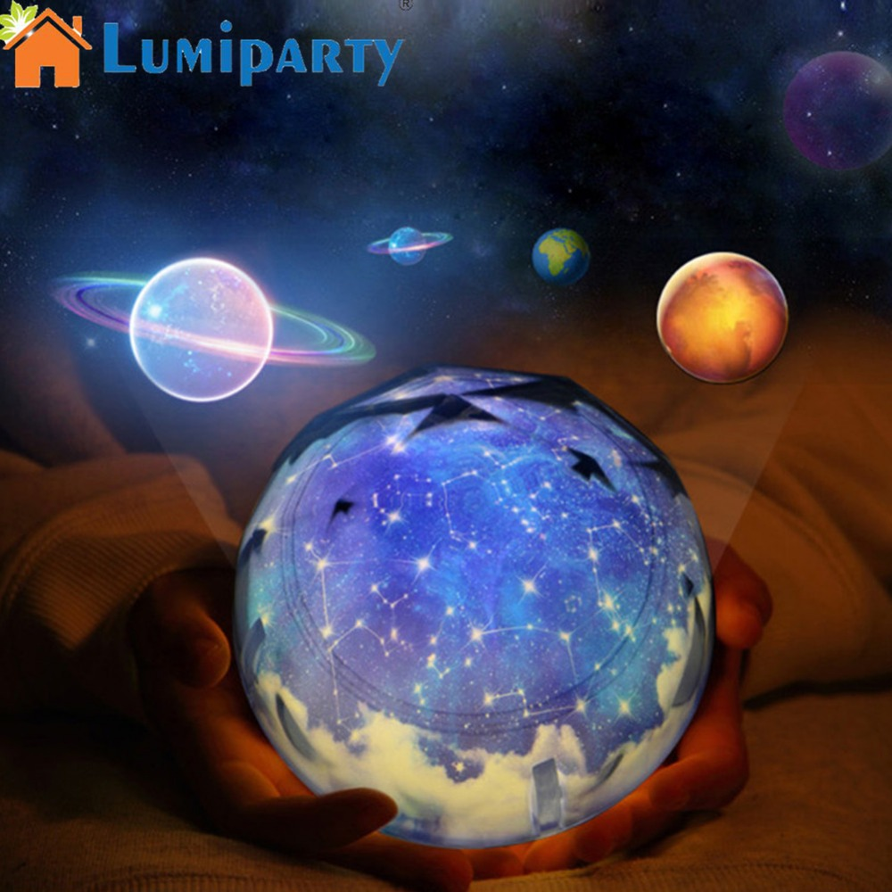 LumiParty USB Chargeable Projection Lights Romantic Colourful Starry Sky Universe Film Projection Lamp Valentine's Day Gift Deco