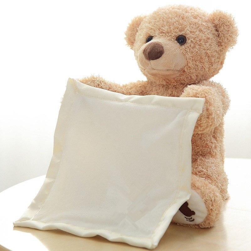 [Divertente] 30 cm peek a Boo Teddy Bear Gioco Hide And Seek Bella elettronico parlare Musica Orso Timido farcito della bambola della peluche regalo del bambino del giocattolo