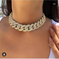 Accking Full CZ Statement Cuban Link Chain Choker Necklace adjust for Man or Women Bijoux Wholesale free shipping