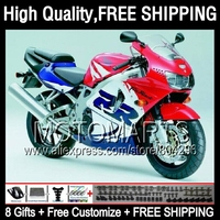 8gifts For HONDA CBR900RR CBR 919 RR 98 99 Red white CBR 919RR 35JJ48 CBR919RR 98 99 CBR919 RR 1998 1999 Fairing Blue white