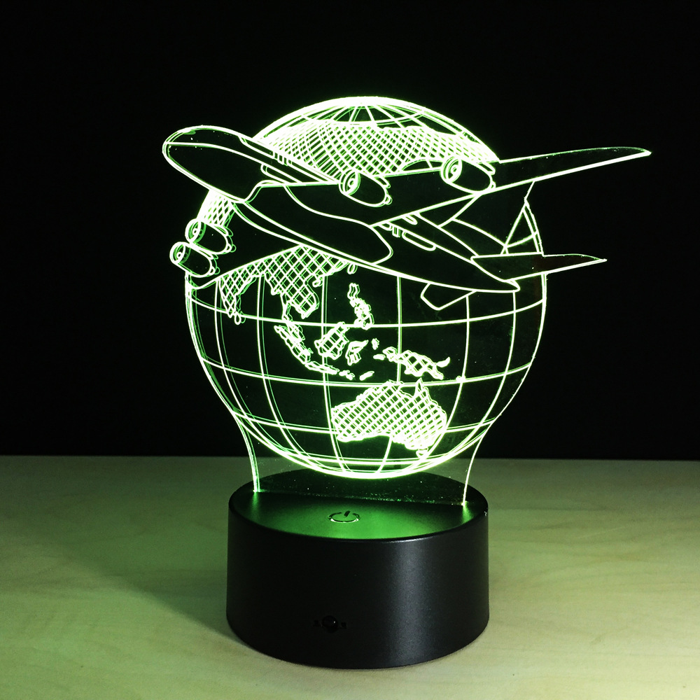 New 7 Colors Changing Touch Adjustable USB Home Lighting Aircraft Globe Earth 3D Night L ...