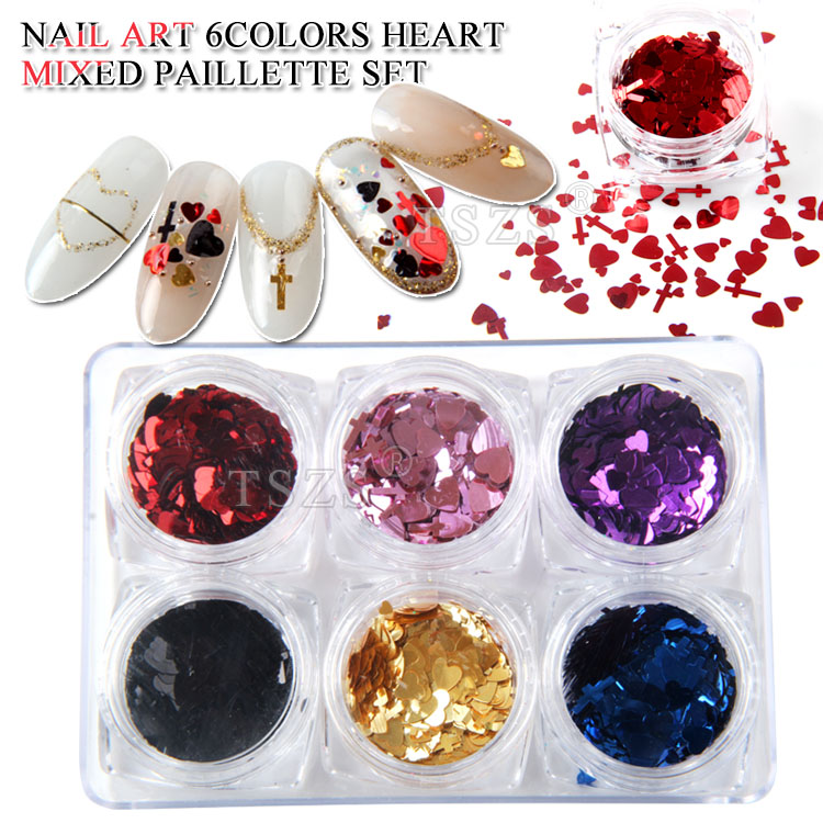 1set/lot Valentines Nail Art Holographic RED Heart Cross Shape Mixed Star Spangles Glitter 3D Decoration