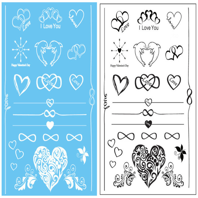 2Pcs Fashion Flash Waterproof Metallic Tattoo Women Black And White Henna Jewel Lace Bracelet Chain Love Heart Tattoos Stick