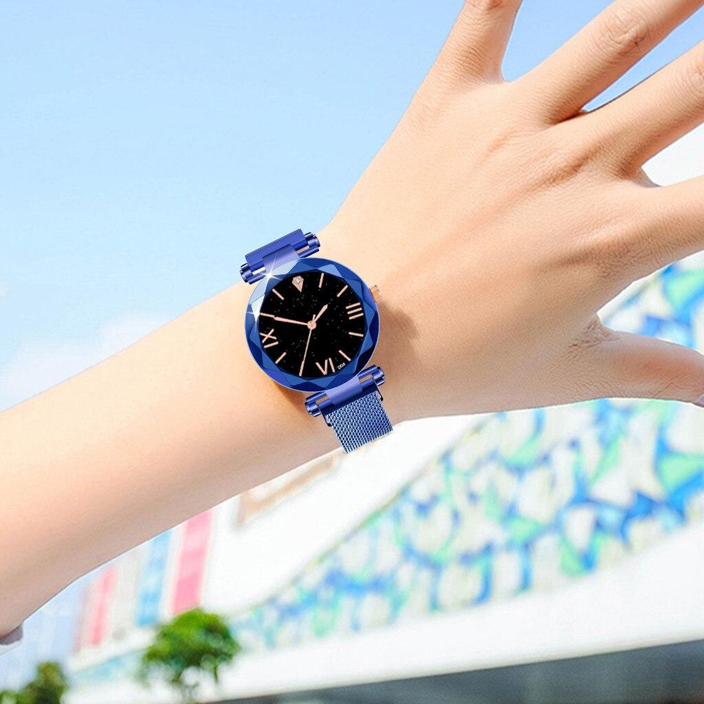 Reloj Mujer 2019 Women Watch Starry Sky Waterproof Magnet Stainless Steel Strap Free women wrist watches Clock bayan kol saati