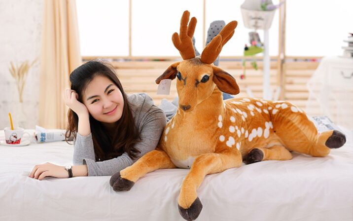 very large 110cm cartoon sika deer plush toy soft throw pillow birthday gift w0899 cute cartoon ladybird plush toy doll soft throw pillow toy birthday gift h2813