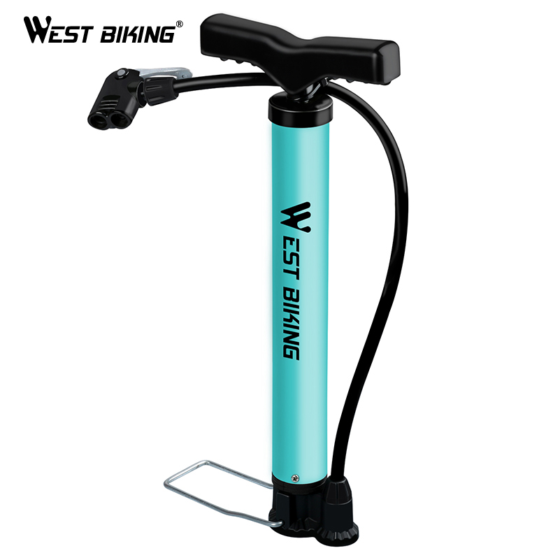 WEST BIKING Bike Pump 120 PSI Steel Turquoise Cycling Pump Air Inflator Schrader & Presta Valve Road MTB Bike Tire Bicycle PumpWEST BIKING Bike Pump 120 PSI Steel Turquoise Cycling Pump Air Inflator Schrader & Presta Valve Road MTB Bike Tire Bicycle Pump