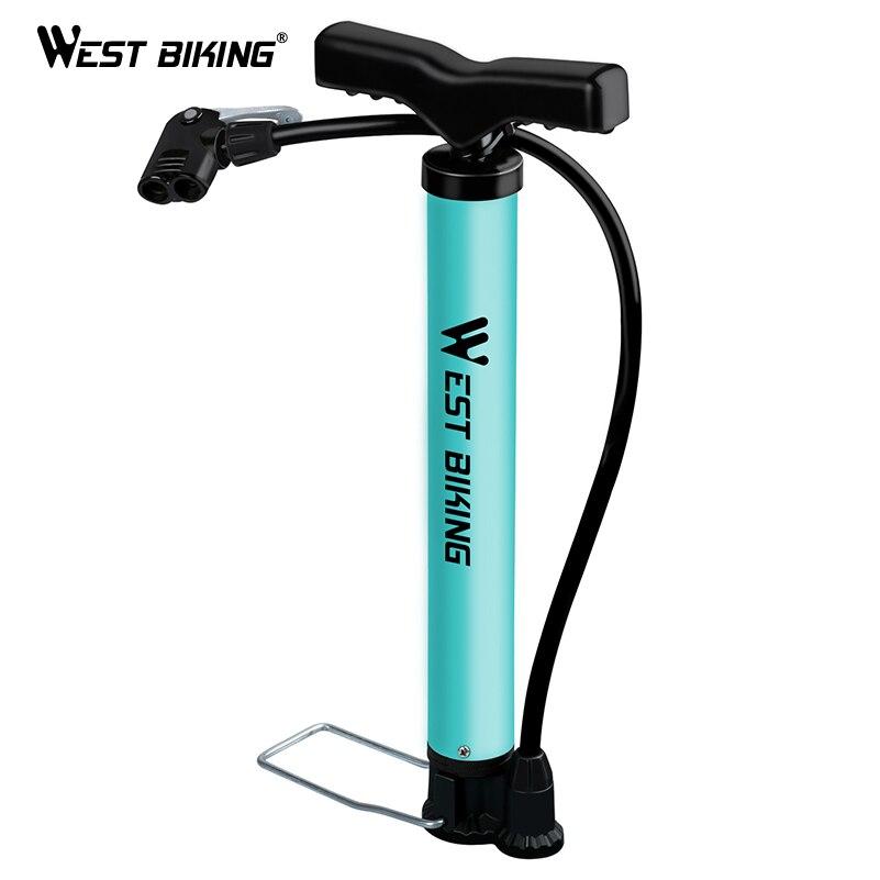 WEST BIKING Bike Pump 120 PSI Steel Turquoise Cycling Pump Air Inflator Schrader & Presta Valve Road MTB Bike Tire Bicycle Pump
