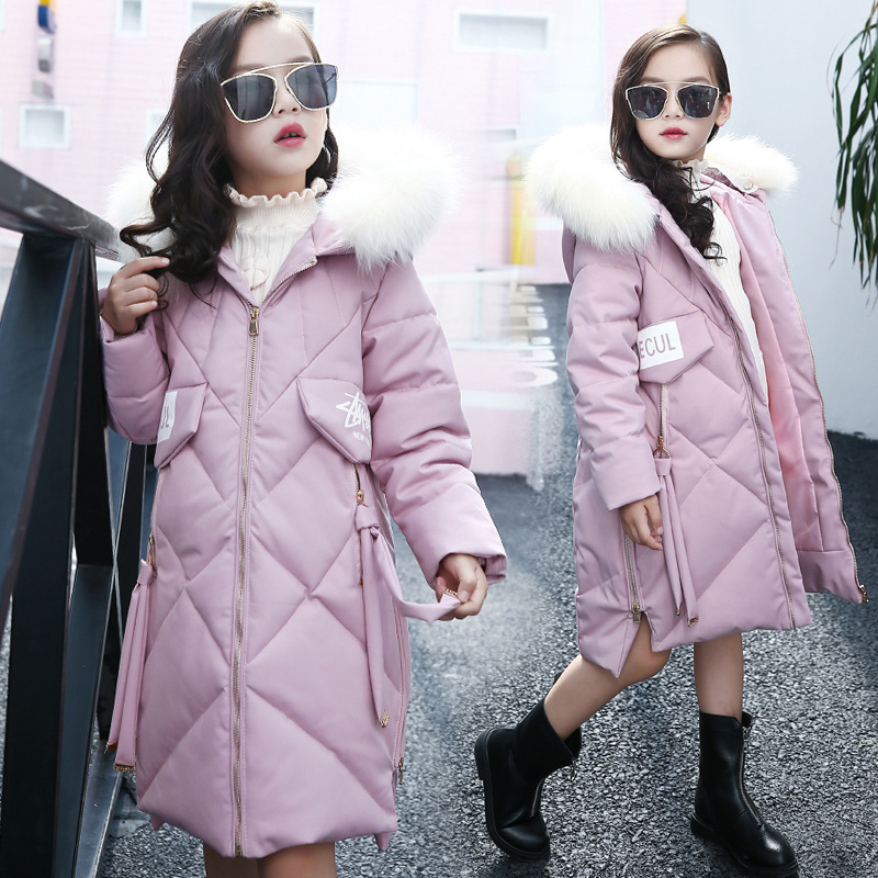 Mioigee 2017 Fur Hooded Baby Teenage Winter Jacket For Girls Cotton Down Parka Girls Winter Coat Long Warm Thick Kids new winter girls boys hooded cotton jacket kids thick warm coat rex rabbit hair super large raccoon fur collar jacket 17n1120