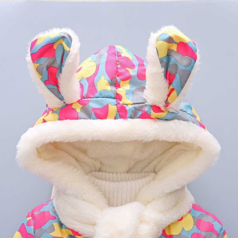 2 Bibihou Winter Cute Rabbit Baby Jacket Thick Cotton-Padded Baby Girl Outerwear Infant Baby Boys Parka Toddler Girls Snow Wear
